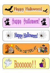 English Worksheet: Halloween bookmarks