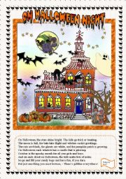 English Worksheet: ON HALLOWEEN NIGHT