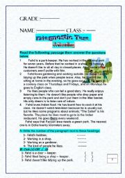 English Worksheet: Diagnostic test grades 5-11 Reading-writing -Language-Vocab