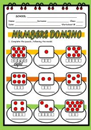 English Worksheets: NUMBERS DOMINO
