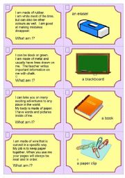 English Worksheets: Riddles - Classroom equipment 1 of 2