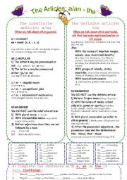 English Worksheet: The definite and indefinite articles