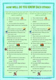 English Worksheets: How Well Do You Know Each Other? (speaking activity for pair work)