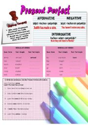 English Worksheet: (2 PAGES) PRESENT PERFECT (Affirmative, negative, interrogative forms, uses and a reading comprehension)