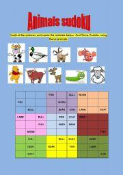 English Worksheets: Animals Sudoku