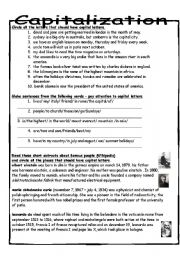 English Worksheet: Capitalization