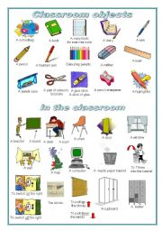 English Worksheet: Classroom objects:  a pictionary (editable)