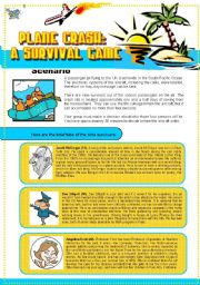 English Worksheet: Plane Crash: A Survival Game