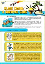 English Worksheet: Plane Crash: A Survival Game
