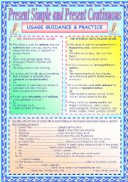 English Worksheet: Present Simple & Present Continuous Usage Guidelines and Practice