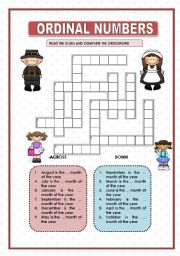 ORDINAL NUMBERS - CROSSWORD