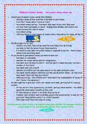 English Worksheet: pocket money