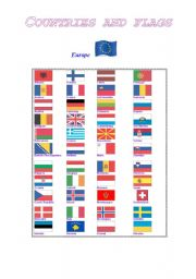 English Worksheet: Lands and flags of Europe