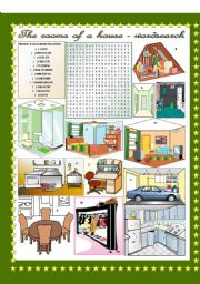 English Worksheet: The rooms of a house - wordsearch  (keys included)
