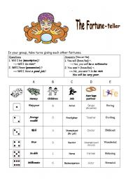 English Worksheet: The Fortune Teller (will, won�t)