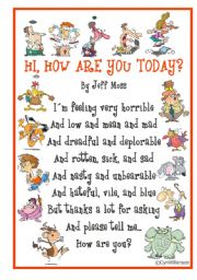 Poem: Hi, how are you today? by Jeff Moss