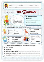 English Worksheet: the simpsons
