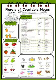 English Worksheet: Plurals of Countable Nouns(1/3)
