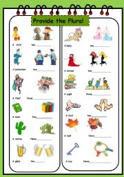 English Worksheet: CHANGE INTO THE PLURAL (2/3)