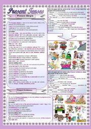 English Worksheets: Present, Past & Future - Present  - 2 pages  (half editable)