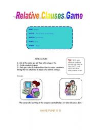 English Worksheet: Relative Clauses Game