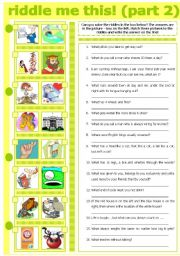 English Worksheet: RIDDLE ME THIS! (PART 2)