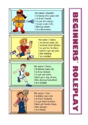 English Worksheets: Beginners� Roleplay (1 of 3)