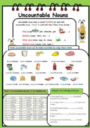 English Worksheets: UNCOUNTABLE NOUNS