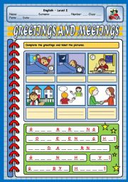 English Worksheets: GREETINGS AND MEETINGS