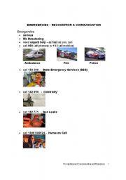 English Worksheets: EMERGENCIES