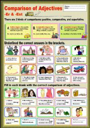 English Worksheet: Comparison of Adjectives -Er & -Est