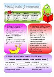 English Worksheet: Indefinite Pronouns + BW