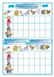 English Worksheets: Animals battleships 3/3