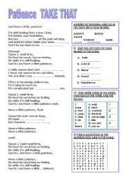 worksheet: SONG PATIENCE (TAKE THAT)