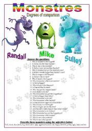 English Worksheet: Monsters, degrees of comparison