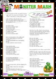 English Worksheet: Hallowwen Set  (5)  -  LET�S SING!