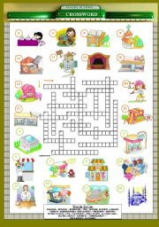 English Worksheet: Places in Town Crossword