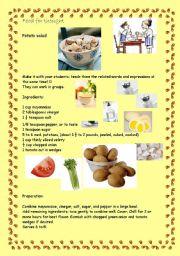 English Worksheet: Cooking in class - Potato salad