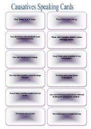 English Worksheet: CAUSATIVES SPEAKING CARDS - 2 -