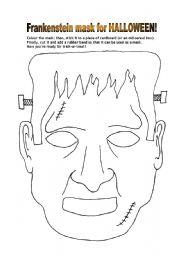 english worksheet frankenstein mask for halloween