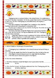 English Worksheets: Thanksgiving origin - Reading and Comprehension