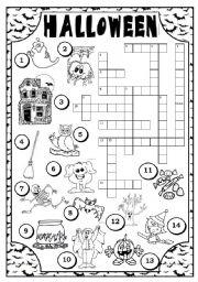 ESL kids worksheets: HALLOWEEN CROSSWORD