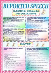 REPORTED SPEECH 2: QUESTIONS, COMMANDS AND EXCLAMATIONS. RULES & PRACTICE