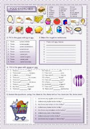 English Worksheet: There is / There are + food