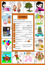 English Worksheet: ANOTHER EASY WAY TO TEACH NUMBERS.replace the figures into letters