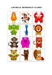 English Worksheet: Animal Memory Game