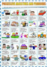 English Worksheet: POSSESSIVE ADJECTIVES AND PRONOUNS (B&W VERSION INCLUDED)