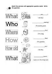 English Worksheets: Question Words (Additional for Zabadoo 1 course)
