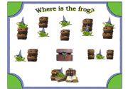 English Worksheet: Frog Wizard Posters with Preposition Cards to Match (20 cards and 2 posters)