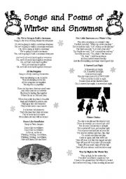English Worksheet: Songs and Poems of Winter and Snowmen